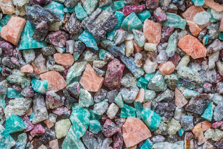 Pink, red, beard, green, blue stones, background