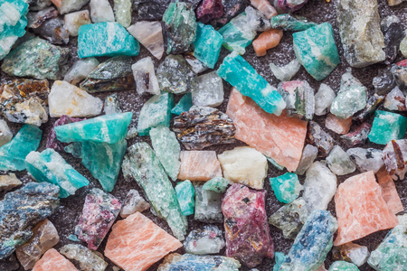 Multi-colored mineral stones on the plane