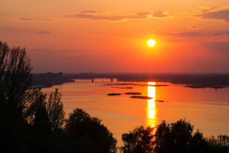 Beautiful sunset over the river and the bridge in Nizhny Novgorod, Russia