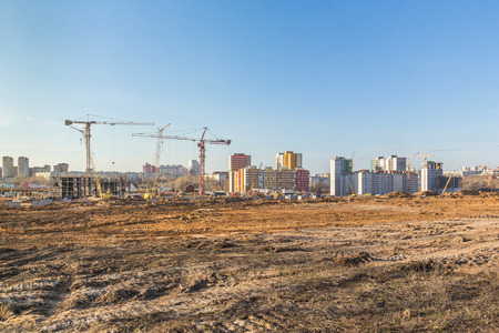 Construction of a residential microdistrict on the outskirts of the city
