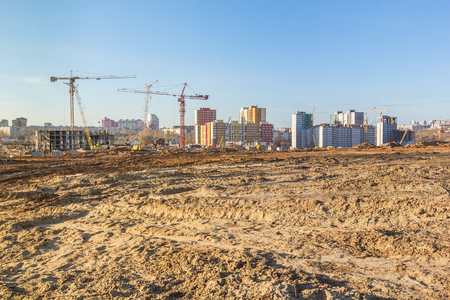 Construction site on a wasteland on the outskirts of the city