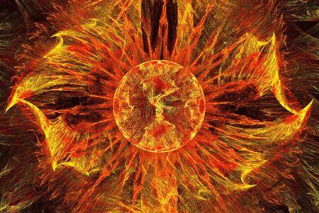 Fiery red sun, fractal