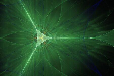 Green diverging rays, fractal Фото со стока