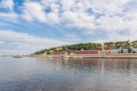 View of the Nizhny Novgorod Kremlin from the river in summer, Russia