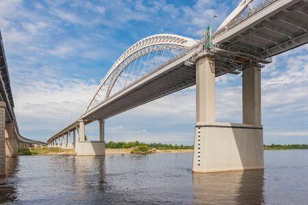 Perspective of an automobile bridge across the Volga, Nizhny Novgorod, Russia