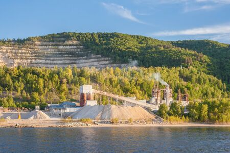 Limestone mining on the banks of the Volga River, Russia 写真素材