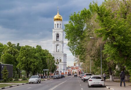 Samara city, Samara region/Russia - may 20 2019: View of the bell tower of the Iversky monastery and the road to it