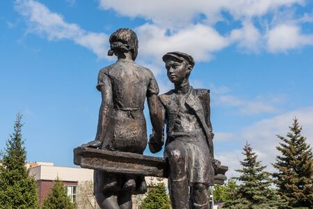 Monument to juvenile home front workers in Samara, Russia Редакционное