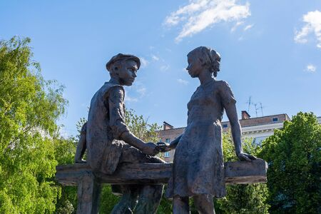 Girl and boy - home front workers in the war in Samara, Russia Редакционное