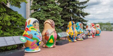 Samara city, Samara regionRussia - may 21 2019: Figures of nesting dolls at CSKA stadium Editorial