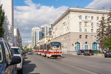 Samara city, Samara region/Russia - may 21 2019: Tram rides along Galaktionovskaya street in summer