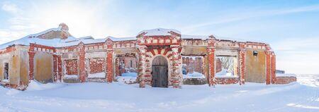 Podvyaze village, Nizhny Novgorod region/Russia - january 20 2019: Old greenhouse in a manor