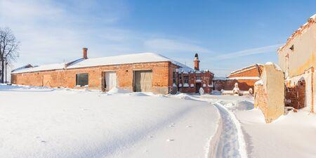 Podvyaze village, Nizhny Novgorod region/Russia - january 20 2019: Snow road in the estate of Priklonsky-Rukovishnikovs