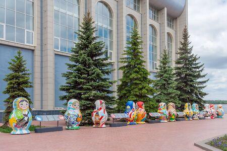 Samara city, Samara region/Russia - may 21 2019: Matryoshka dolls in front of CSKA building on the embankment