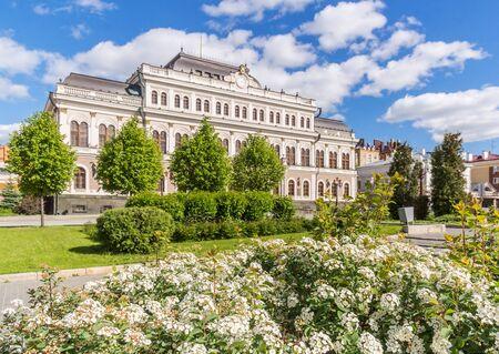 Flowers and the Kazan Town Hall on Freedom Square in Kazan, Tatarstan