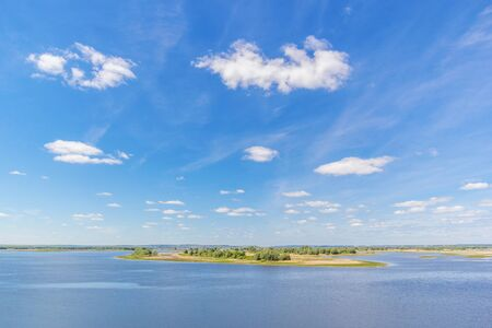 Clouds and island on the Volga river in summer in Tatarstan