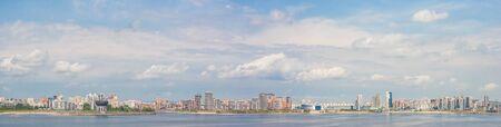 Panorama of the banks of the Kazanka River in Kazan, Tatarstan Фото со стока