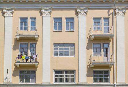Facade of a house with balconies in Kazan, Russia Фото со стока