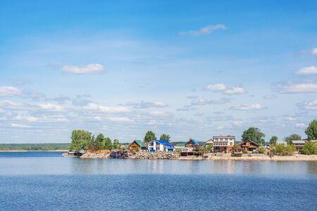 Village on the banks of the Volga in Tatarstan, Russia Фото со стока