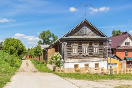 Wooden house on the island of Sviyazhsk in summer, Russia Фото со стока