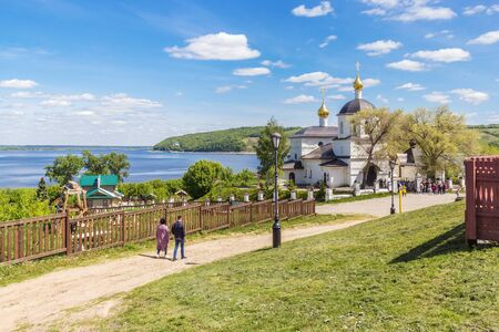 The road to the church of Konstantin and Elena in Sviyazhsk in summer, Tatarstan