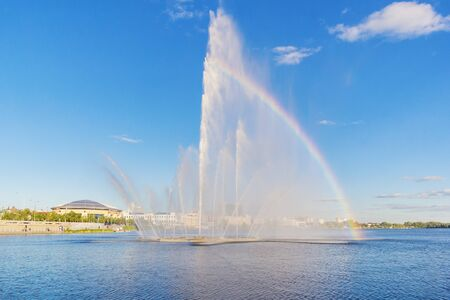 Fountain on the Lower Kaban Lake in Kazan with a rainbow