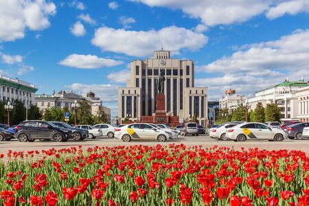 Kazan city, Republic of Tatarstan/Russia - may 24 2019: State Council building in tulips