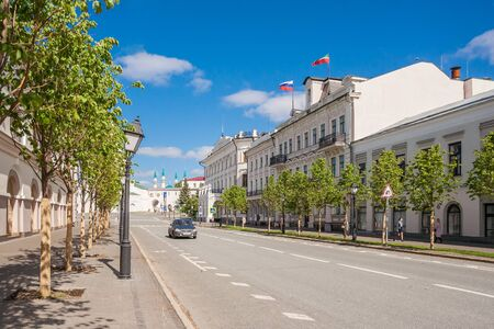 Kazan city, Republic of Tatarstan/Russia - may 24 2019: Kremlin street in the summer Редакционное