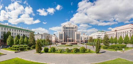 Kazan city, Republic of Tatarstan/Russia - may 24 2019: Panorama of Freedom Square in summer