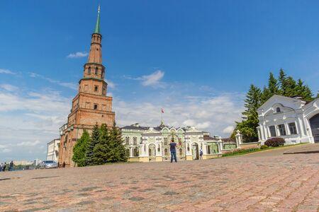 Kazan city, Republic of Tatarstan/Russia - may 23 2019: Syuyumbike tower in the Kazan Kremlin Редакционное