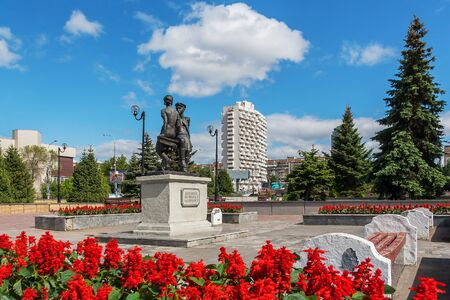 Samara city, Samara region/Russia - may 21 2019: The square for the heroes of the 21st army and a monument to children of home front workers