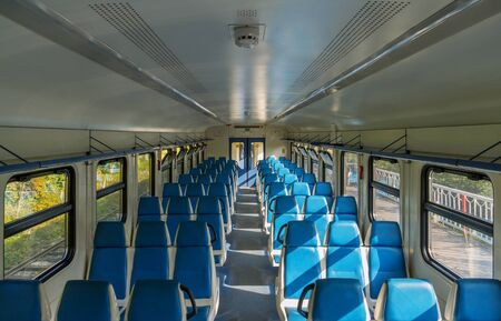 View of the interior of an electric train car without passengers in Russia