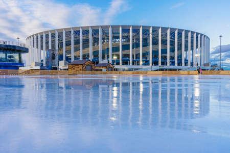 Nizhny Novgorod city, Nizhny Novgorod region/Russia - mart 12 2020: Ice rink near the stadium Редакционное