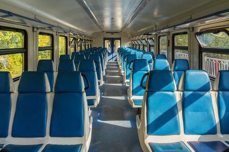 Empty electric train car in Russia