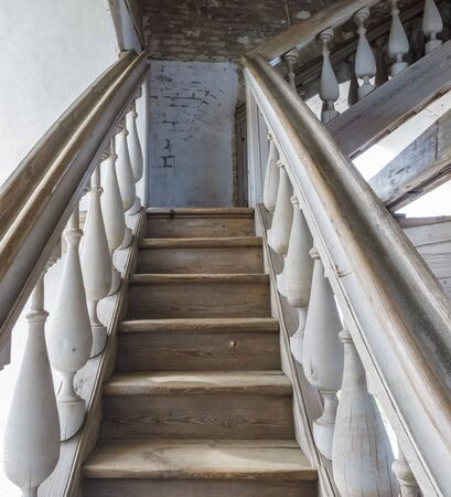 Old staircase to the bell tower in the Nilo-Stolobensky Monastery