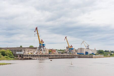 Shipyard cranes in Gorodets Russia