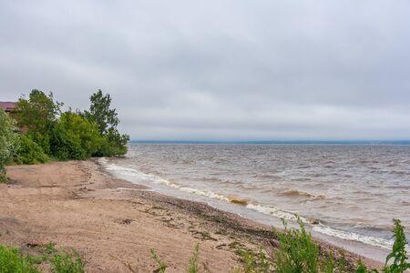 Storm offshore on the Gorky reservoir in the Nizhny Novgorod region, Russia