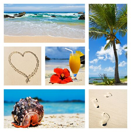 Collage of tropical island scenes