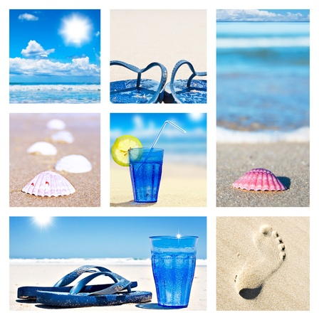 flop: Collage of beach holiday scenes Stock Photo
