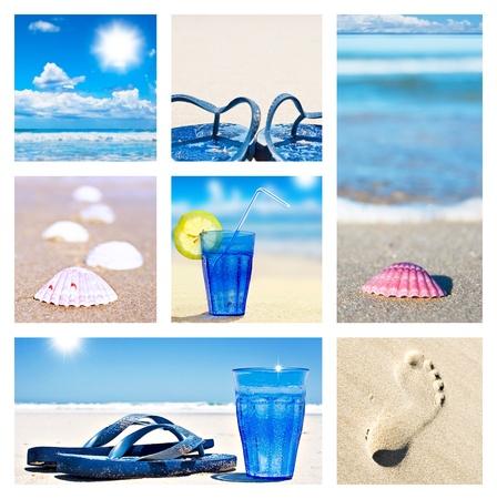 Collage of beach holiday scenes Standard-Bild