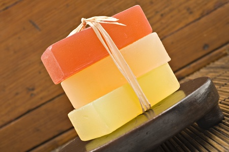 Three bars of organic glycerin soap in a spa. photo