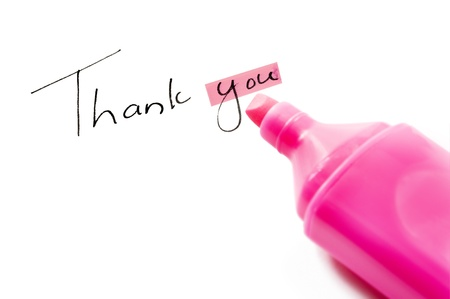 receptive: Thank you with focus on you Stock Photo