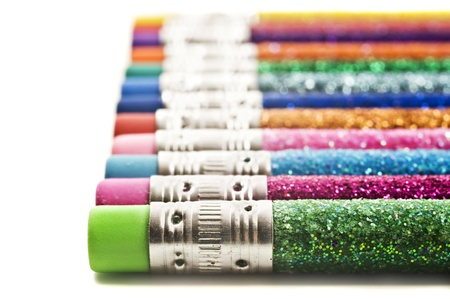 Colorful pencils with erasers covered in glitter Stock Photo - 9128071