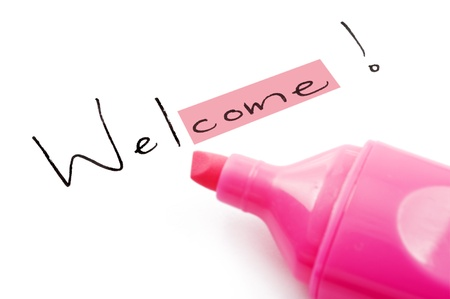 Welcome highlighted in pink on white Stock Photo - 9128060