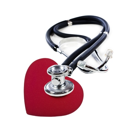 a Doctors stethoscope listening to a red heart  on a white background with space for text