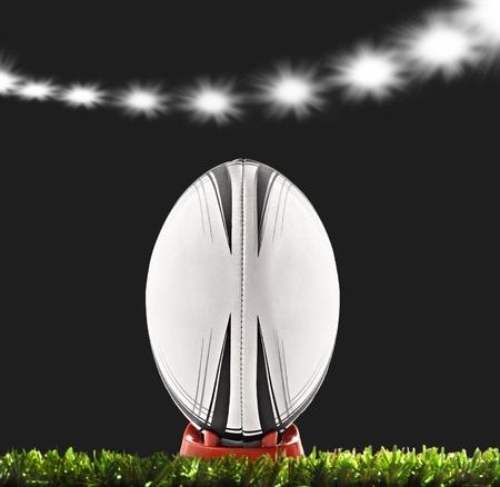 pelota rugby: una pelota de Rugby en un campo de rugby Foto de archivo