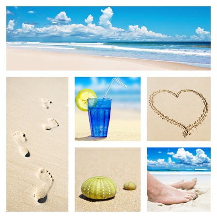 Collage of beach holiday scenes photo