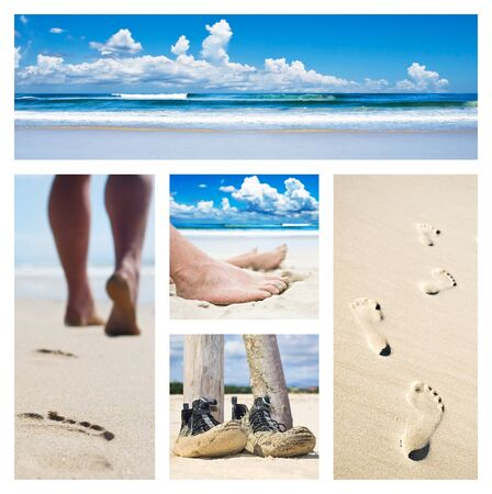 Collage of feet, footprints and shoes on the beach photo