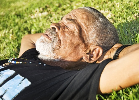 Old African black man with characterful face photo