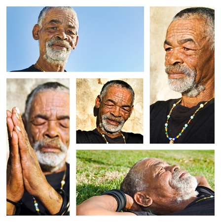 Senior African man - collage with different portraits. photo